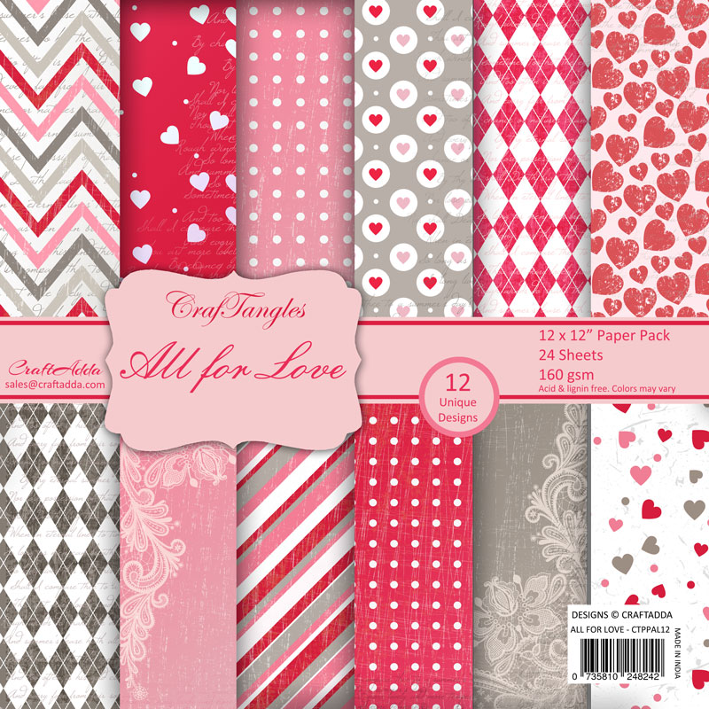 Craftangles Scrapbook Paper Pack All For Love 12x12