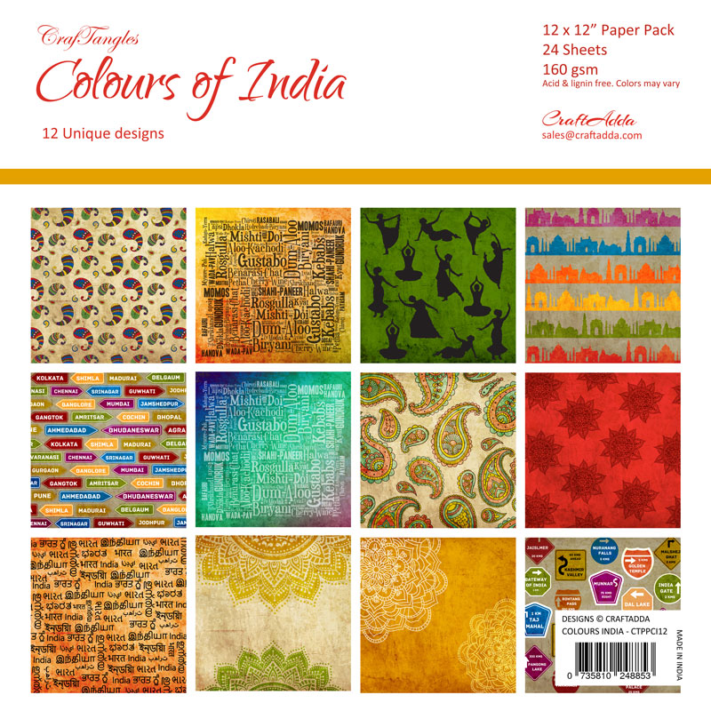 Craftangles Scrapbook Paper Pack Colours Of India 12x12